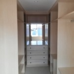Walk in wardrobe in White Beech